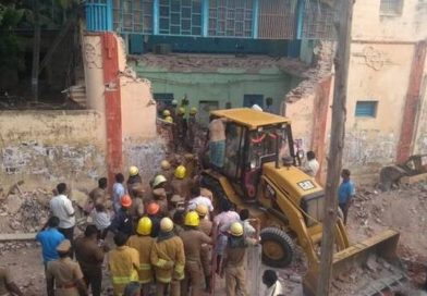 six- decade-old building of the Tamil Nadu State Transport Corporation's collapsed this morning